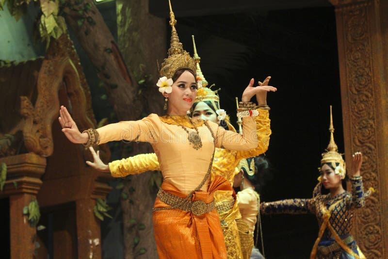 L'exposition de démo de soirée d'Angkor Vat, Cambodge photographie stock