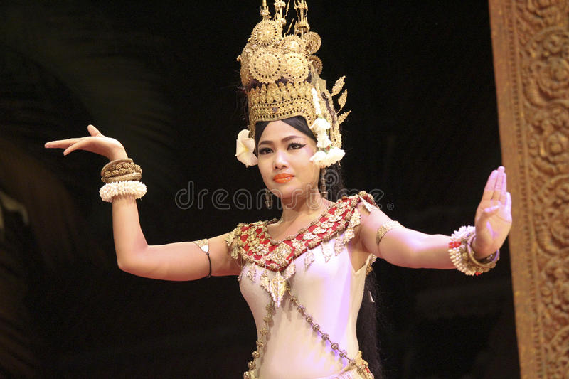 L'exposition de démo de soirée d'Angkor Vat, Cambodge image stock
