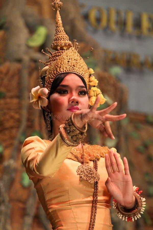 L'exposition de démo de soirée du temple d'Angkor, Cambodge images libres de droits