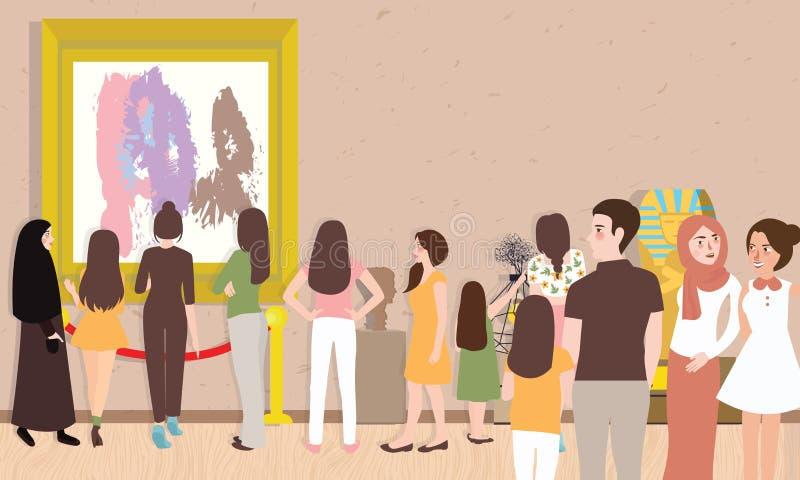 L'exposition de galerie d'art occupée beaucoup de personnes équipent le visiteur d'enfants de femme recherchant la collection con illustration de vecteur
