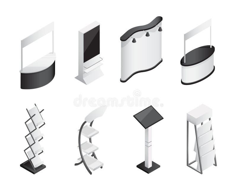 L'exposition isométrique de gradient tient des icônes de vecteur réglées illustration de vecteur