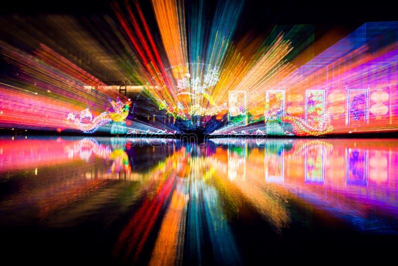 L'exposition légère sur le festival de lanterne chinois photographie stock