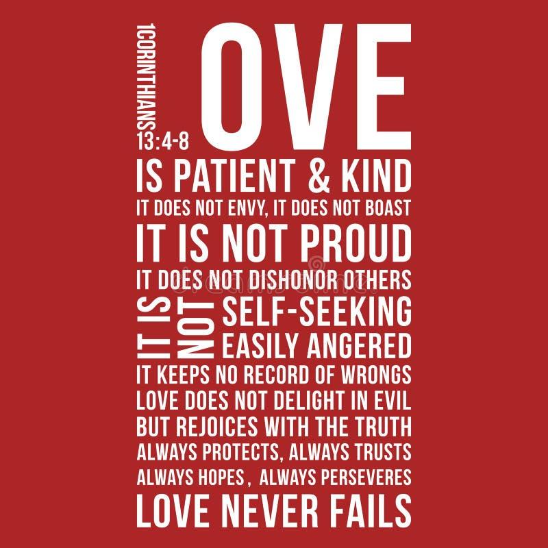 L'expression biblique de 1 13:8 de Corinthiens, aiment n'échoue jamais illustration stock