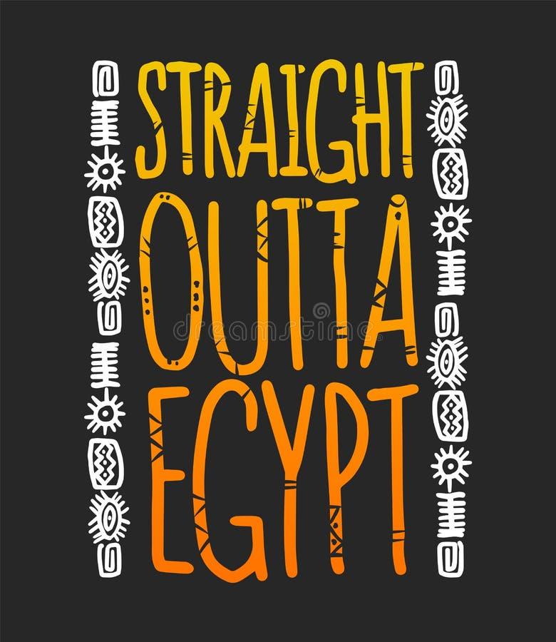 L'expression droite de l'Egypte d'outta avec des hiéroglyphes, T-shirt imprime illustration libre de droits