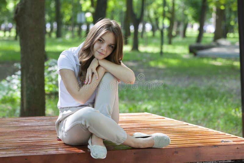 ? l'ext?rieur verticale de belle jeune fille de brune photo stock