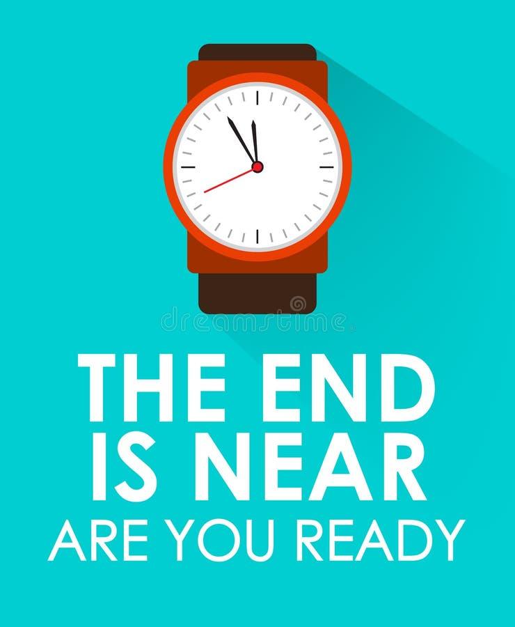 L'extrémité est proche, est vous prêt avec l'horloge faisant tic tac et fond vert bleu Concept de dernier ou fin de temps et de l photos libres de droits