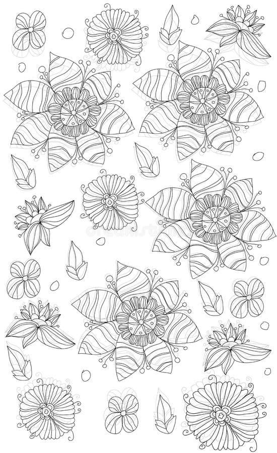 L fondo con las flores y las hojas pintadas stock de ilustración