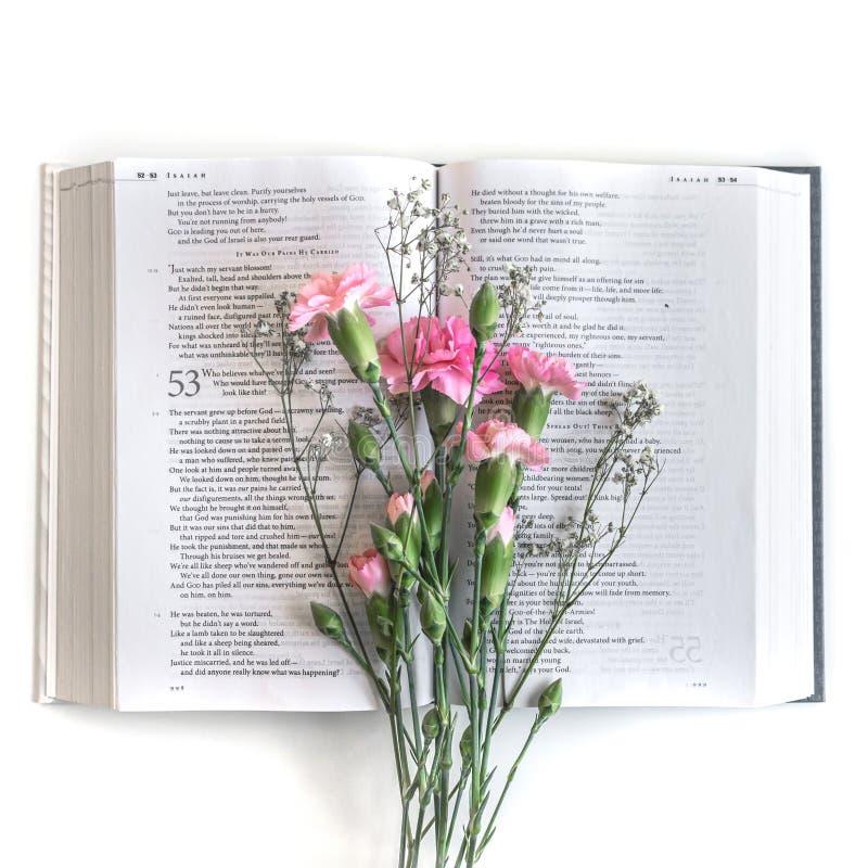 L?genheten l?gger: Bibel och rosa, r?d rosa blommabukett P? vitbakgrund arkivfoto