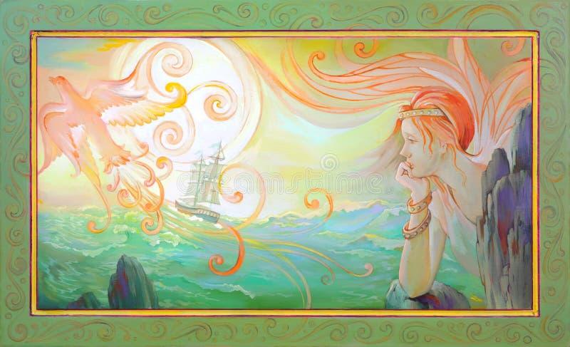 ?l?gie Portrait de princesse celtique de royaume des fées Peinture ? l'huile sur le bois illustration libre de droits