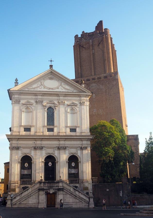 L'?glise de S Caterina un Magnanapoli, avec le delle Milizie de Torre à Rome, l'Italie photographie stock