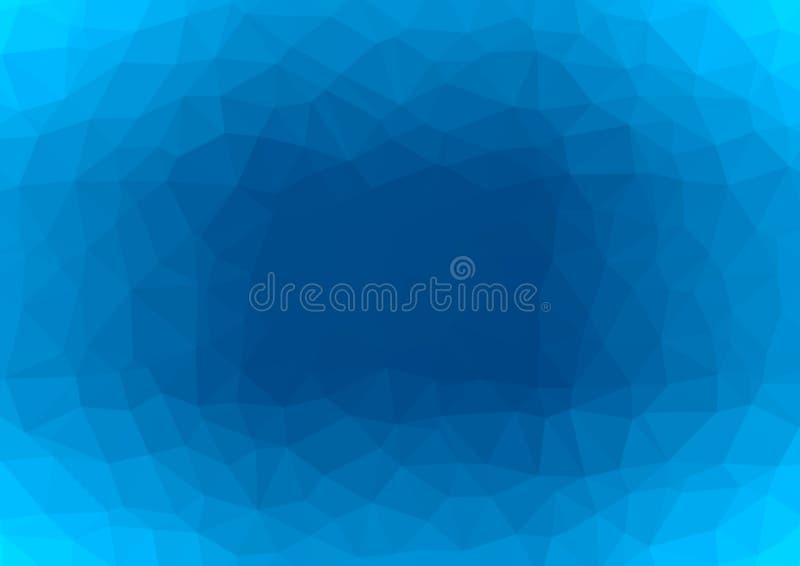 L?gt poly m?rkt - bl? abstrakt bakgrund Geometrisk triangulering av havdjup Texturerad mall royaltyfri illustrationer