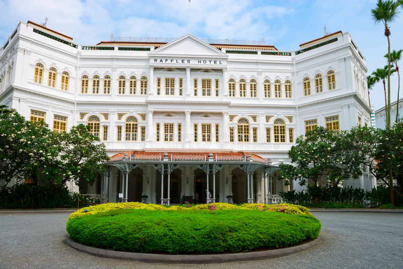 L'hôtel de Raffles à Singapour, entrée principale photographie stock
