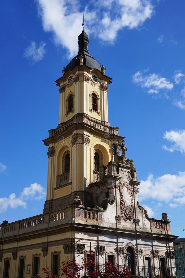 L'hôtel de ville de Buchach est vue unique d'architecture image libre de droits