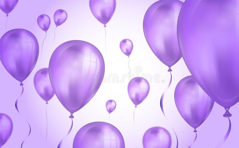 L'h?lium volant de couleur pourpre brillante monte en ballon le contexte avec l'effet de tache floue Fond de mariage, d'anniversa illustration de vecteur