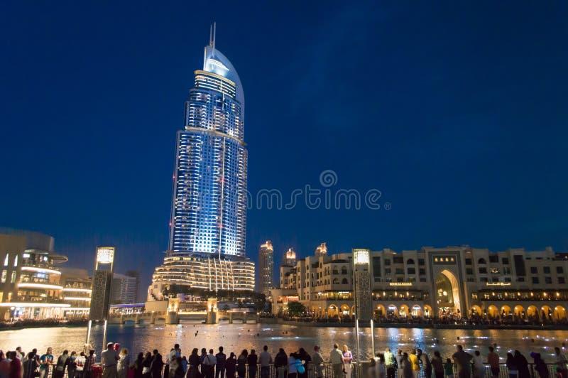 L'hôtel d'adresse, Dubaï la nuit image stock