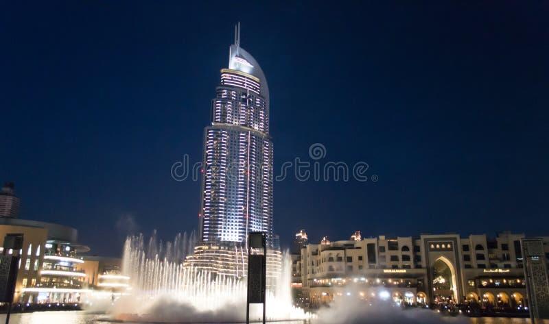 L'hôtel d'adresse, Dubaï la nuit photographie stock libre de droits