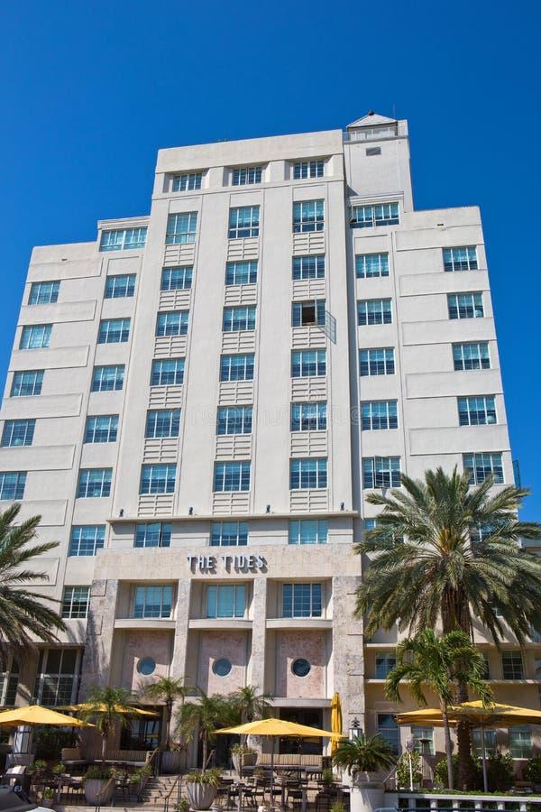 L'hôtel Miami Beach de marées photographie stock