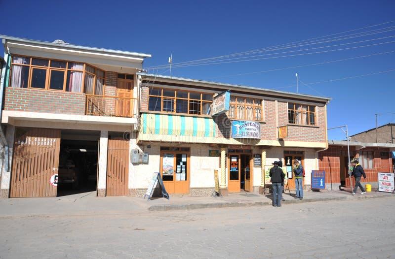 L'hôtel Salvador dans Uyuni image stock