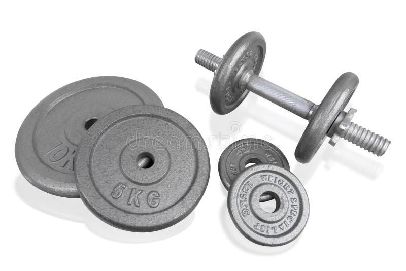 L'haltère et les poids d'argent d'équipement d'exercice de forme physique plaquent l'OIN images stock