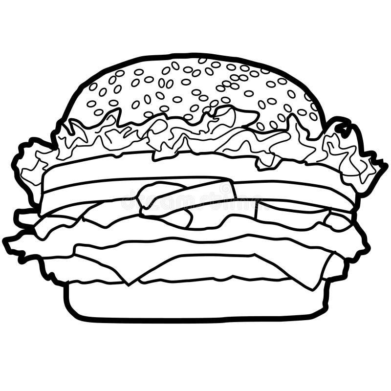 L'hamburger è un popolare alimento occidentale che viene facilmente mangiato, delizioso, popolare nel mondo e che si trova ovunqu illustrazione di stock