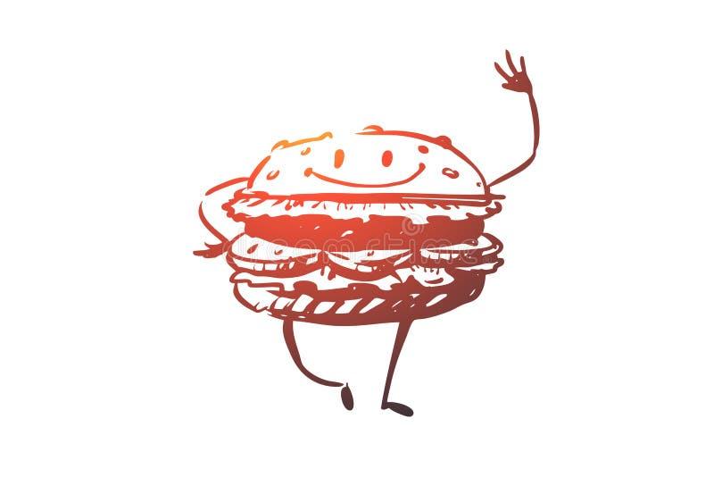 L'hamburger, boeuf, repas, aliments de préparation rapide, mangent le concept Vecteur d'isolement tiré par la main illustration stock
