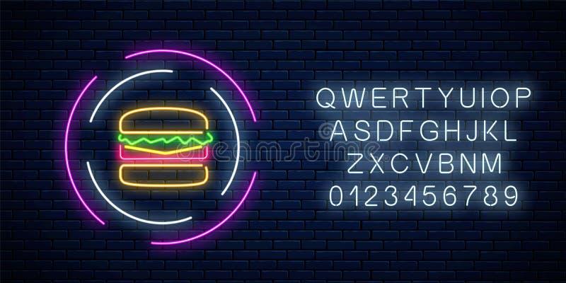 L'hamburger d'ardore al neon firma nei telai del cerchio con l'alfabeto Simbolo leggero del tabellone per le affissioni di pasto  illustrazione vettoriale