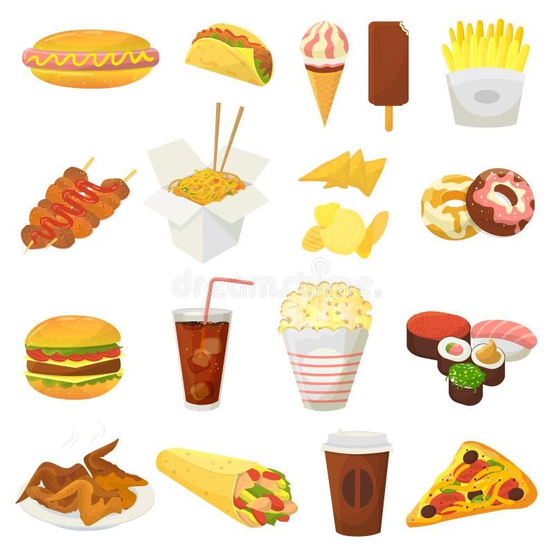 L'hamburger o il cheeseburger di vettore degli alimenti a rapida preparazione con le ali ed il cibo di pollo del pasto rapido del illustrazione di stock