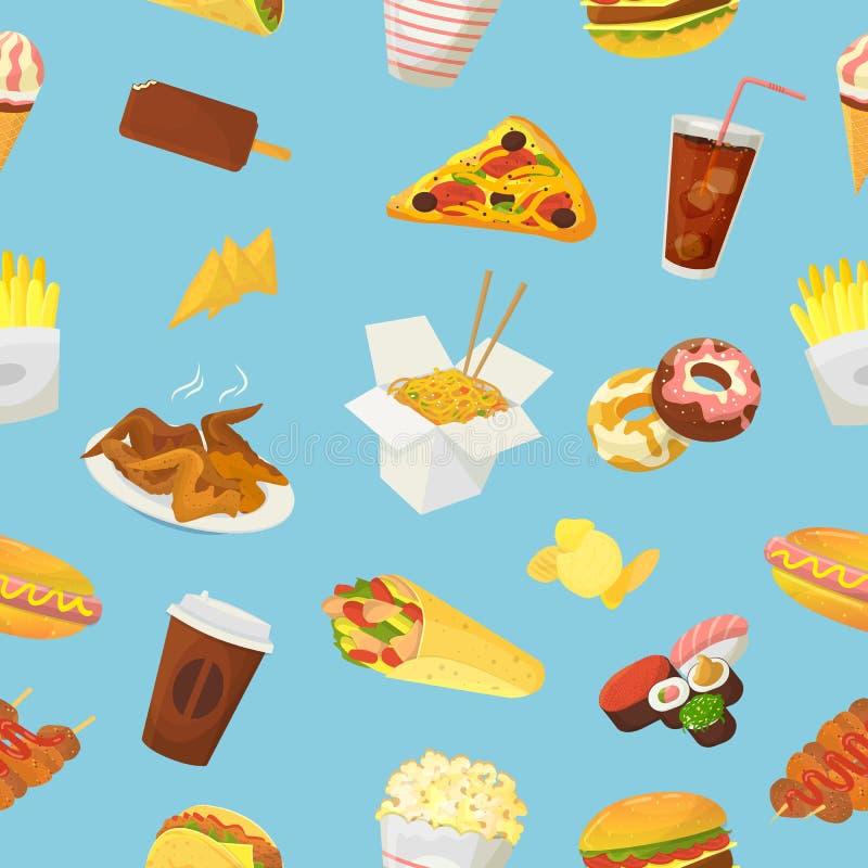 L'hamburger o il cheeseburger di vettore degli alimenti a rapida preparazione con le ali ed il cibo di pollo del pasto rapido del illustrazione vettoriale