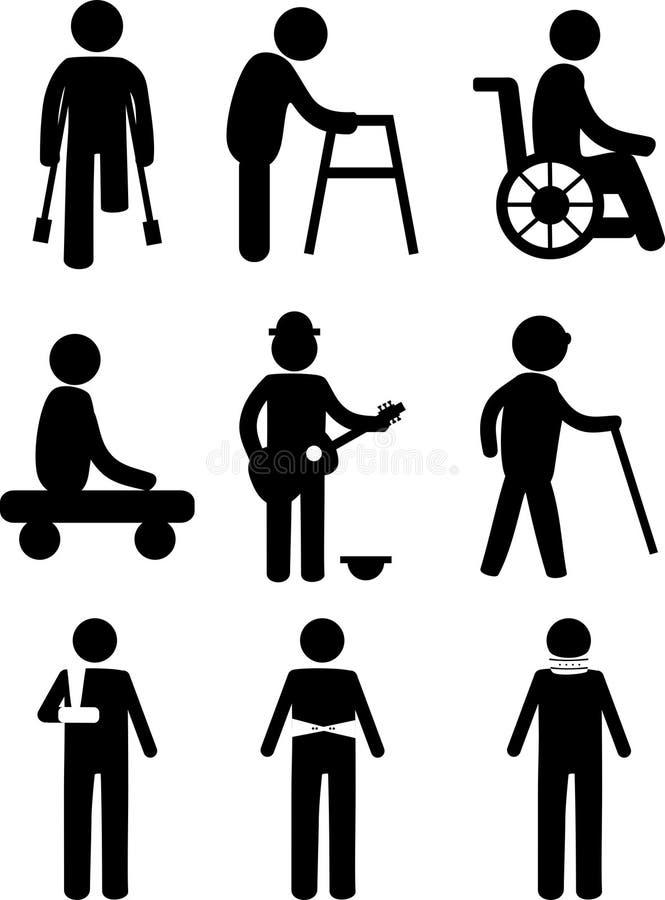 L'handicap dell'amputato disattiva il pittogramma dell'uomo della gente illustrazione vettoriale