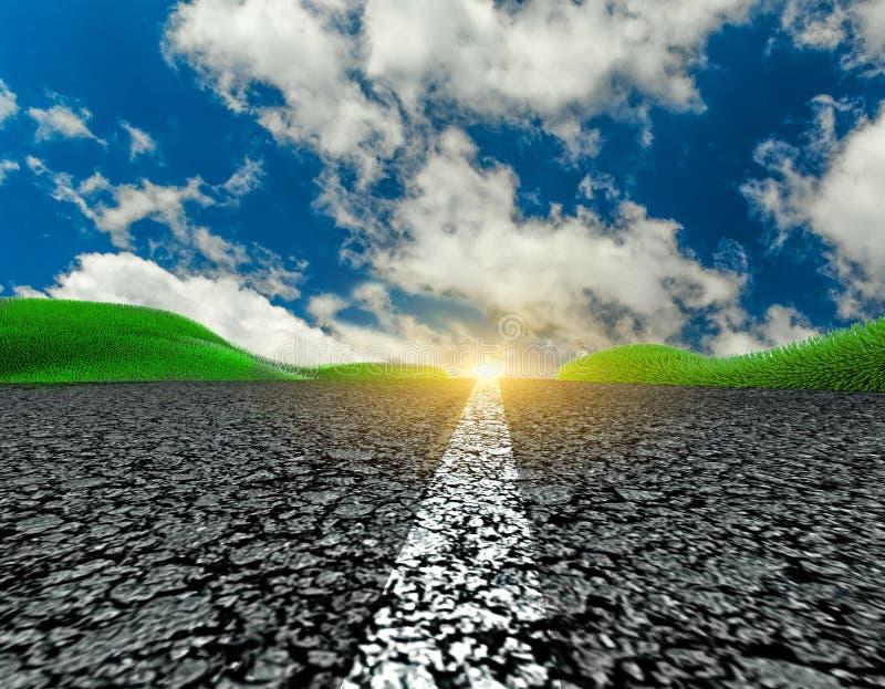 L'herbe d'asphalte de voyage de voyage de route opacifie le fond de ciel bleu image stock