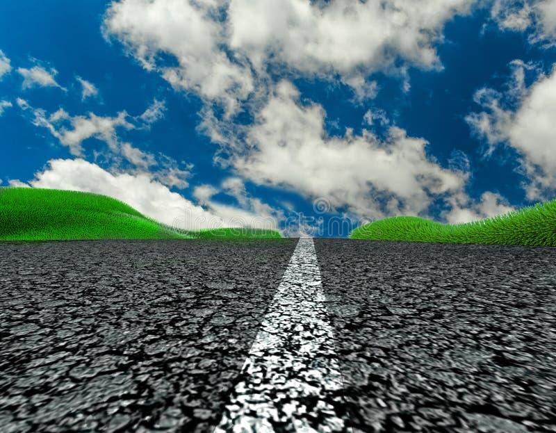 L'herbe d'asphalte de voyage de voyage de route opacifie le fond de ciel bleu photos stock
