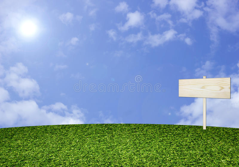 L'herbe et en bois verts se connectent le fond de ciel illustration stock