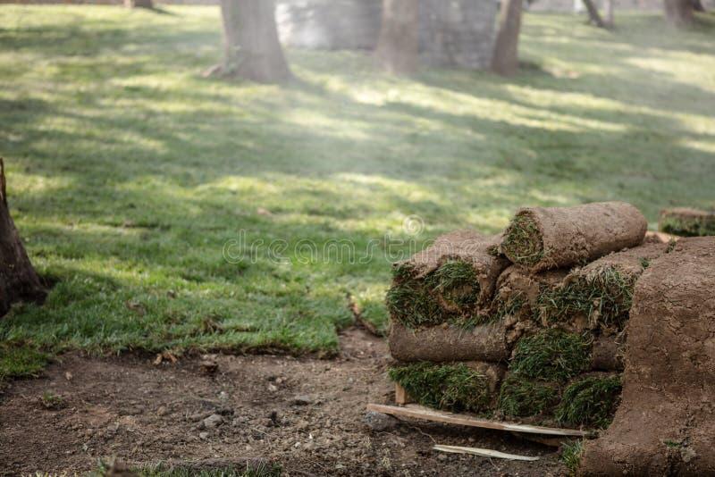L'herbe roule prêt à installer sur une nouvelle pelouse images libres de droits
