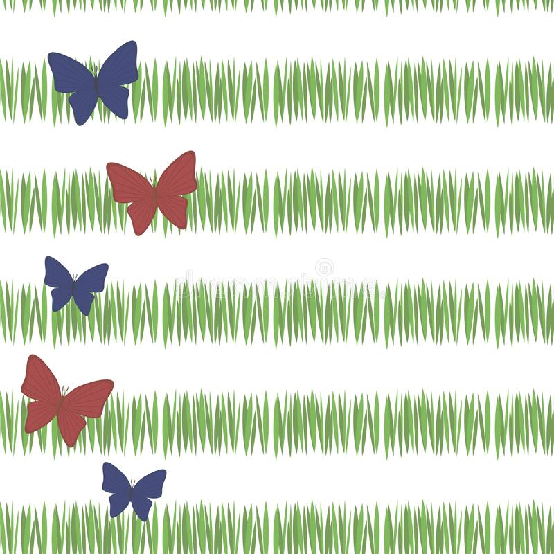 L'herbe verte simple verte barre la végétation de thé de fraîcheur de carte postale avec les papillons rouges et bleus verticalem illustration de vecteur