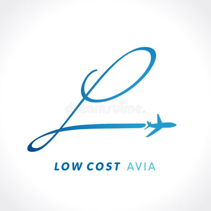 L het embleem van het de lage kostenbedrijf van de brievenreis vector illustratie