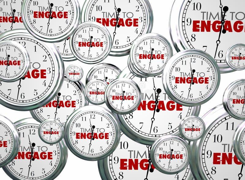L'heure d'engager des horloges interactives deviennent impliquée illustration de vecteur