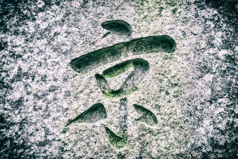L'hiéroglyphe coupé dans la pierre photo stock
