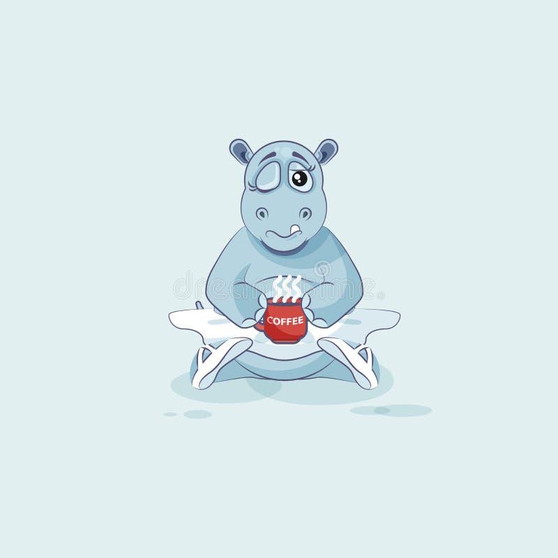 L'hippopotame de ballerine de bande dessinée de caractère d'Emoji d'illustration de vecteur s'est juste réveillé avec la tasse de illustration libre de droits