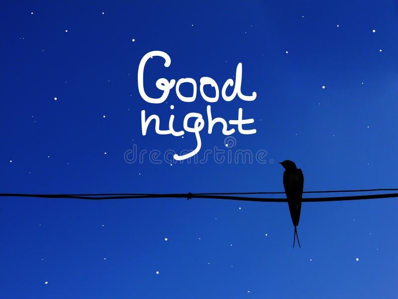 L'hirondelle de lettrage de bonne nuit se reposent en ciel clair bleu de fond electriccable illustration de vecteur