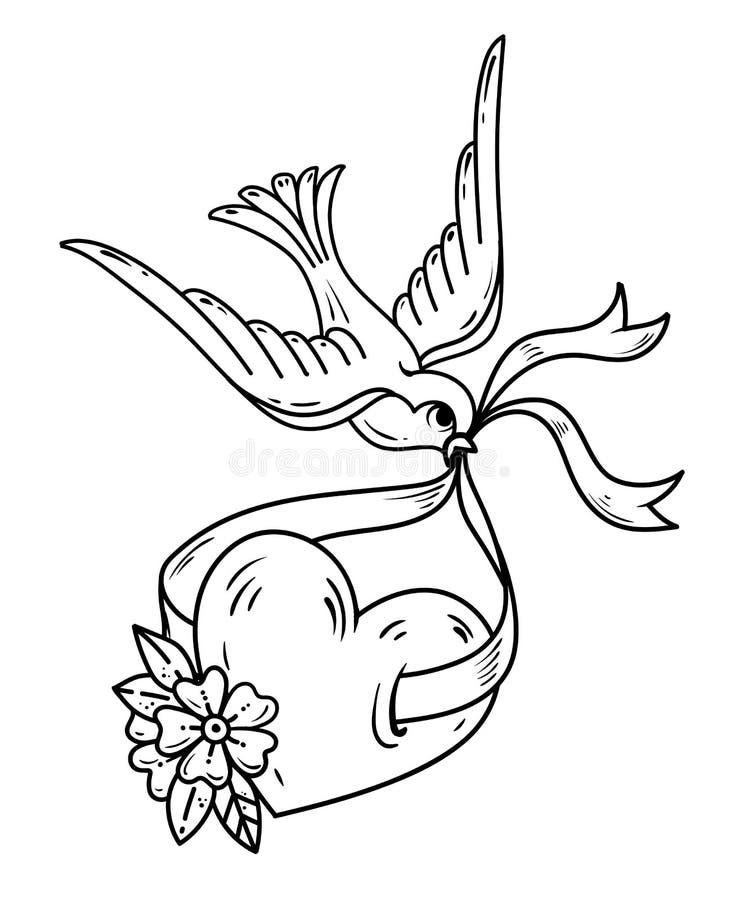 L'hirondelle reporte le coeur sur le ruban Coeur de tatouage avec les fleurs et l'oiseau Symbole de la chance Tatouage noir et bl illustration libre de droits