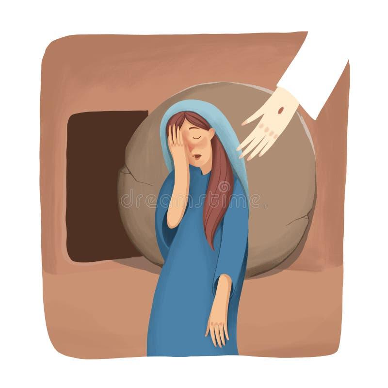 L'histoire biblique au sujet de la résurrection, le support de Mary près de la tombe vide et le cri, mais ne voit pas Jésus illustration de vecteur
