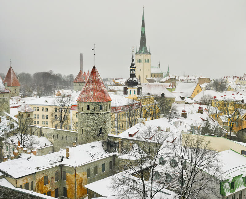 L'hiver à Tallinn photo libre de droits