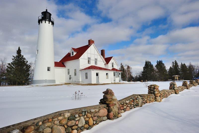L'hiver au phare d'Iroquois de point photos stock