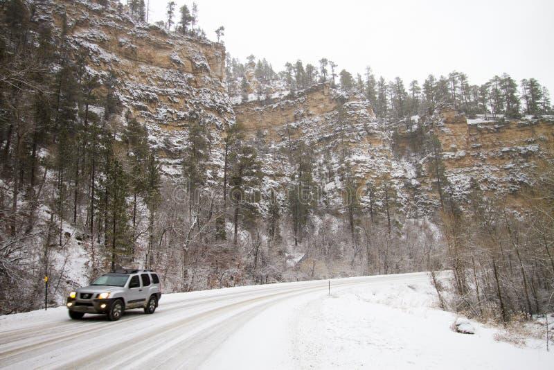 L'hiver a couvert la vallée dans le Spearfish, écart-type photographie stock