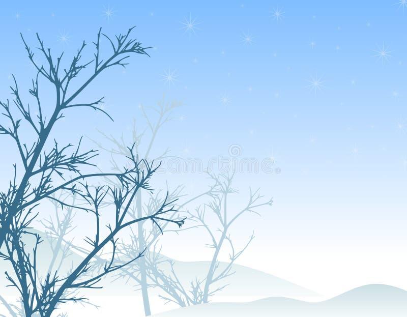 l'hiver d'arbres de neige de scène illustration libre de droits