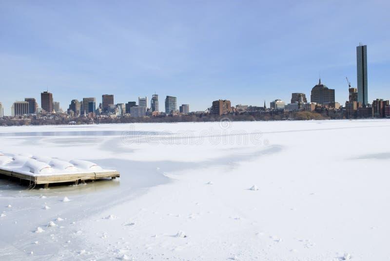 l'hiver d'horizon de Boston photo stock
