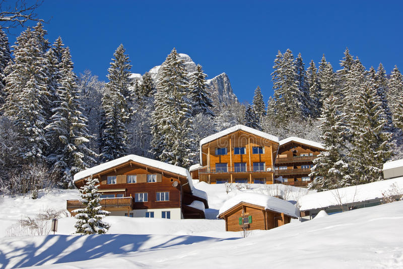 L'hiver dans les alpes image stock