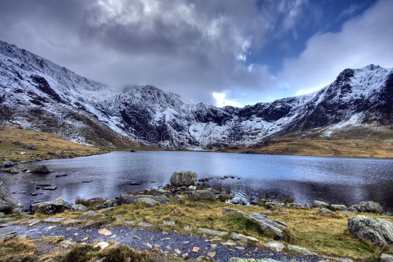 L'hiver dans Snowdonia photo stock