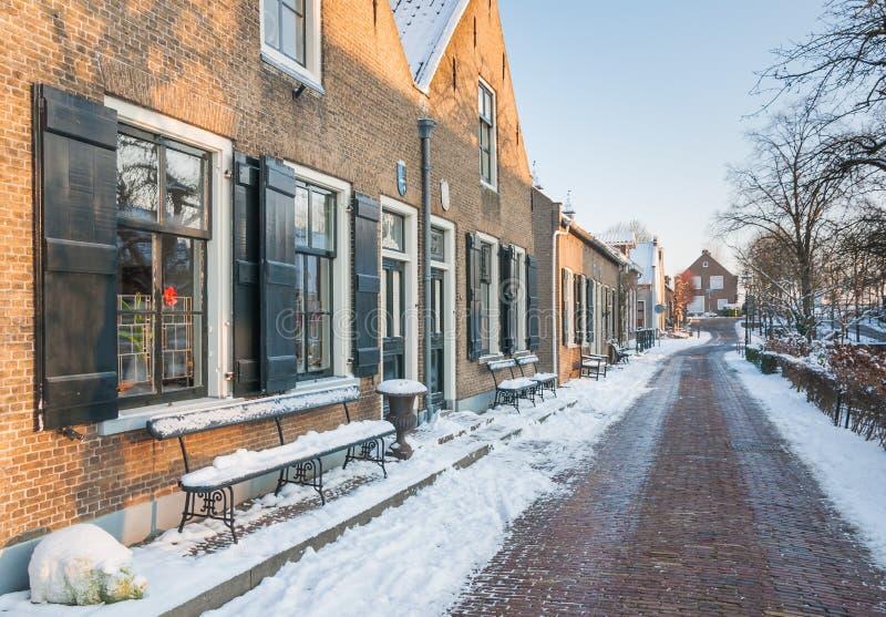 L'hiver dans un village historique aux Pays Bas photographie stock
