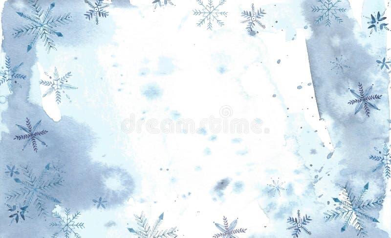 l'hiver de blanc de l'Espagne de montagne d'horizontal de fond Peinture d'aquarelle, photo - forêt, nature, arbre Il peut être em illustration stock